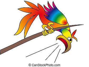 The Bright parrot yells with tree is insulated on white.