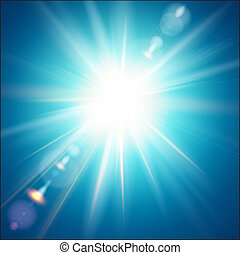 The bright sun shines on a blue sky background. Vector...