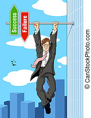 Conceptual illustration relating to imminent failure. A businessman hanging on to an horizontal pole of the success and failure sign: he is on the point of falling down toward the failure.
