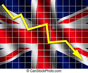 The British flag and arrow graph going down