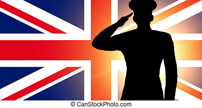 The British flag and the silhouette of a soldier's military...