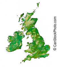 The British Isles as brush illustration with clipping path. Acrylic paint and pen.