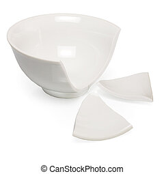 The broken white cup on white background
