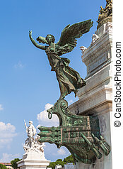 Close view of bronze statue in front of Monumento nazionale a Vittorio Emanuele II, Rome, Italy