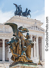 Close view of bronze statue in front of Monumento nazionale a Vittorio Emanuele II (Altar of the Fatherland), Rome, Italy