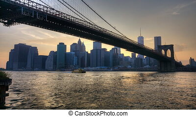 The Brooklyn Bridge as night falls
