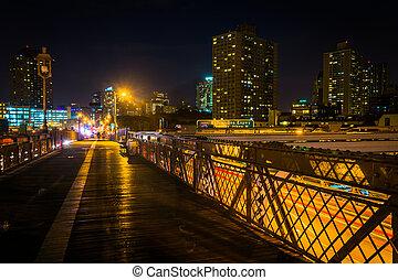 The Brooklyn Bridge Walkway at night, New York.