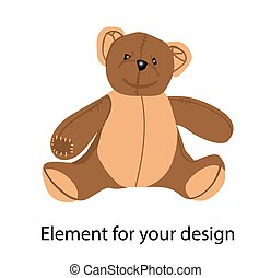 The brown bear. Teddy bear. Plush toy. Vector illustration isolated on a white background.