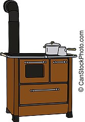 The brown kitchen stove