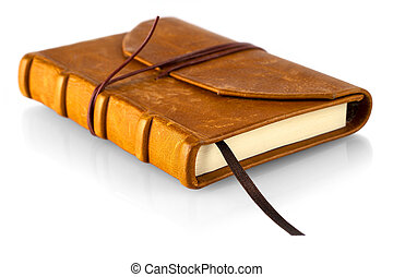 Brown leather notebook isolated on a white background