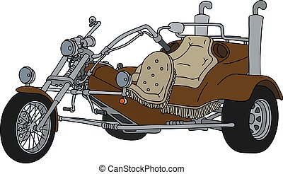 The brown motor tricycle - The hand drawing of a brown heavy...