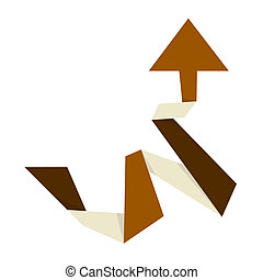 The brown up arrow - The origami style brown arrow