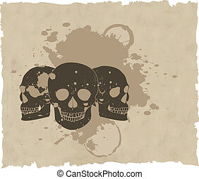 the brown vector grunge skull on old paper