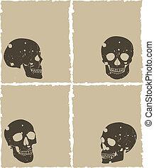 the brown vector grunge skull set on old paper
