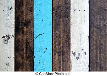 The brown, white and blue wooden background.