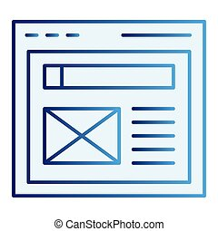 The browser flat icon. Website window blue icons in trendy flat style. Web page gradient style design, designed for web and app. Eps 10.