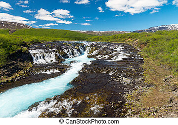The Bruarfoss waterfall in Iceland