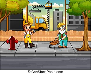 The builders working on construction site