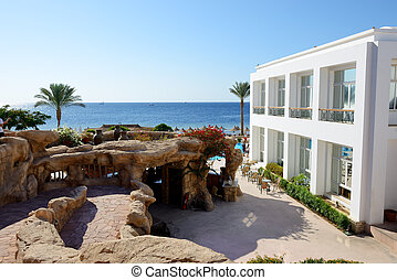 The building and beach at luxury hotel, Sharm el Sheikh,...
