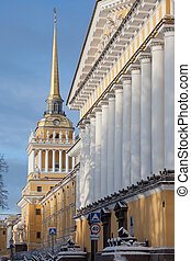 The  building of Admiralty in winter morning, Saint-Petersburg, Russia