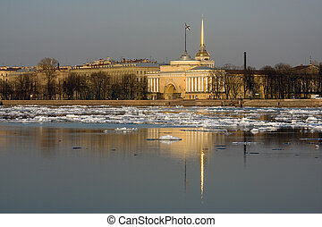 Admiralty, reflected in Neva river