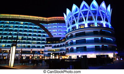 The building of luxury hotel in night illumination, Antalya,...