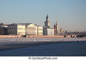 The Building Of The Kunstkamera. Saint-Petersburg, Russia