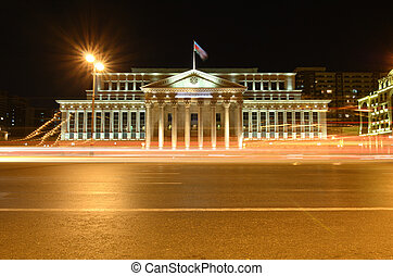 The building of the Supreme Court of the Azerbaijan Republic on Yusif Safarov Street in the evening. Baku.