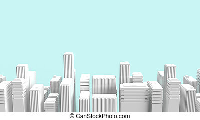 building on blue background for property content 3d rendering.