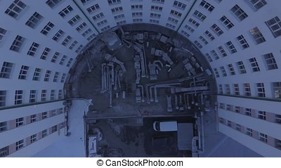 The Buildings In The city center. Aerial view of a apartment...
