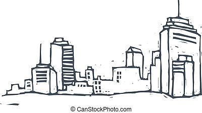 The buildings in the city