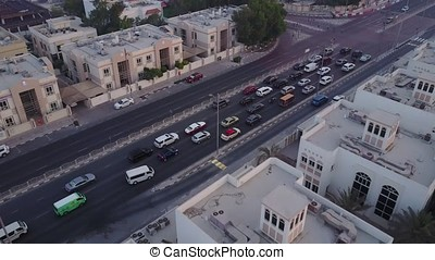 The Buildings In The Emirate Of Dubai. Aerial view. Highway....