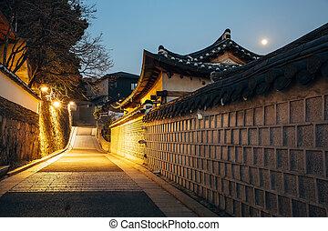 The Bukchon Hanok historic houses at night in Korea