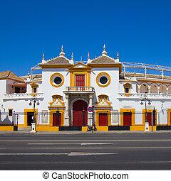 The bull arena of Seville across the street, Spain