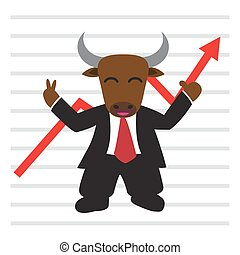 The bull wear business suit in front of bullish stock market graph