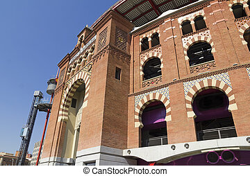 The Bullring Arenas on Spain Square, Barcelona, traditional architectural style neo-Mudejar. Catalonia, Spain
