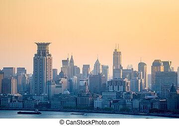 the bund at dusk, charming shanghai cityscape, China