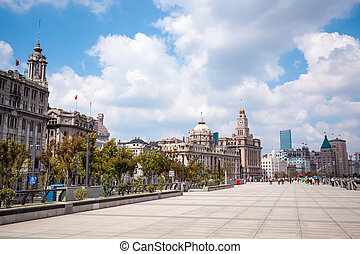 the bund in shanghai at daytime, famous tourist destination...
