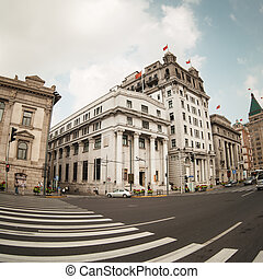 the bund streetscape - the scene of the bund street in...