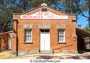 The Burke and Wills Mechanics Institute hall in Fryerstown, Victoria, Australia