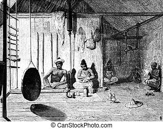 The Burmese Muong Yong and his wife, vintage engraving. -...