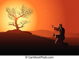 Biblical vector illustration series, Moses and the burning bush