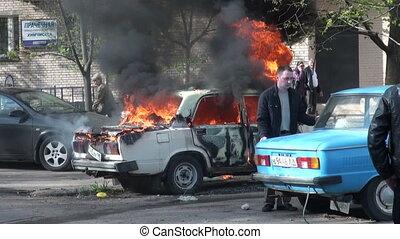 The burning car