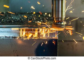 The  burning chip on CNC machine
