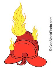 The burning fire helmet