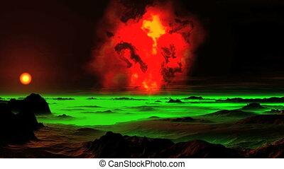 The Burning Nebula over an Alien Planet