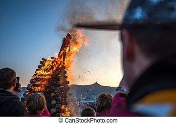 The burning of witches is very old and still a living folk custom and a special spring feast, widespread especially in Europe. Last April evening people meet at the fire and celebrate the coming of spring.