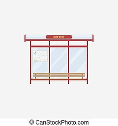 The bus stop with a bench on white background. Flat vector illustration EPS 10.