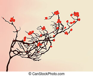 The bush branch is covered by red flowers. A vector illustration