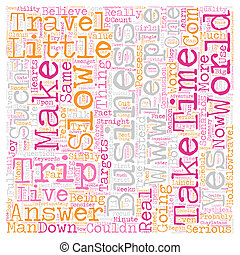 The Business Of Slow Travel text background wordcloud concept